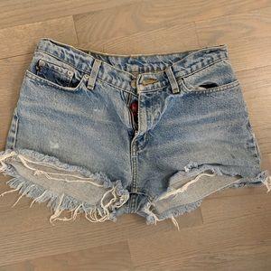 Hand Distressed Denim Cutoff Shorts